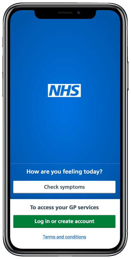 NHS App displayed on mobile phone